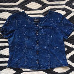 Linen cotton blend burnout floral top denim blouse